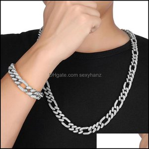 Tennis, Graduated Necklaces & Pendants Jewelryhip Hop 1Set 1M Gold Iced Out Paved Rhinestones Miami Curb Figaro Link Chain Cz Bling Rapper N