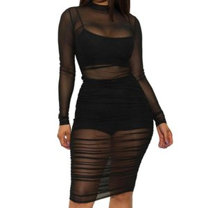 Sexy Women Long Sleeve See Through Dress Mini Camisole Shorts Set Club Outfit Women See Through Beach Dress Swimsuit