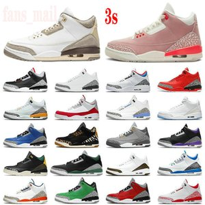 2021 Jumpman 3s Basketball Shoes 3 A Ma Maniere Rust Pink Pine Green Midnight Navy Racer Blue UNC Laser Orange Varsity Royal Cement White Fire Red Sports Sneakers