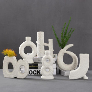 Nordic Ins Ceramics Vase Home Украшения дома Украшения Белый Вегетарианский Керамический Цветочный горшок Художественные Вазы Домашние Украшения Ремесла Подарки