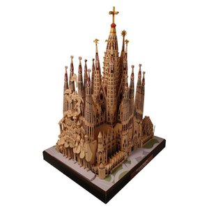 Spanish Cathedral Sagrada Familia 3D Paper Model World Famous Architecture DIY Model Educational Toys for Children Collection L0311