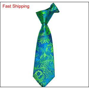 Fast Shipping Floral Tie Green Bule Hanky Cufflinks Sets Men's 100% Silk Ties For Men Formal Wedding Pa qylLGj bdehome