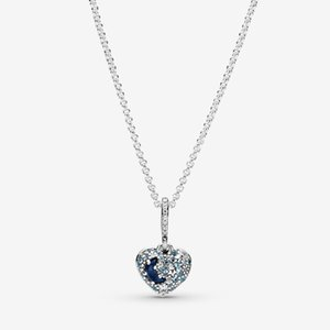 New Arrival 100% 925 sterling silver Sparkling Blue Moon & Stars Heart Necklace fashion Jewelry making for women gifts free shipping