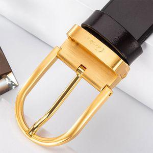 Ciartuar Mens Belt Genuine Leather luxury brands High Quality Fashion Jeans Belts for Men Pin Buckle Gold Waist Designer Belt 201208