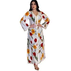 Повседневные платья белые цветочные платье для женщин мода ленты v шеи с длинным рукавом арабский Дубай мусульманская индейка одежда плюс размер 2021