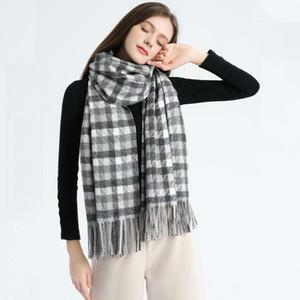 Tartan Cashmere Wool Scarf Plaid Blanket with Tassel Thickened Warm Women Winter Wrap Ladies Fashion Shawls