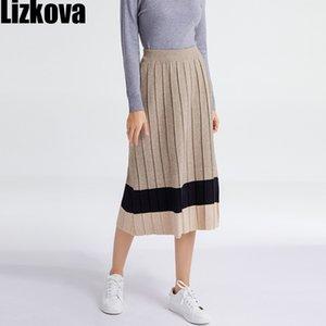 Jupe tricotée plissée Lizkova Femmes Harajuku Black Midi Jupes 2021 Printemps Plus Taille Casual Faldas 210305