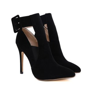Designer shoes women luxury heels black pointed toe pumps with buckle size 35 to 40 Come With Box