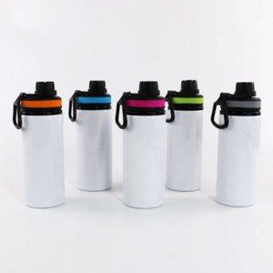Botellas de aluminio de sublimación Botellas de agua 600 ml Caldera resistente al calor Tazas deportivas Tazas de cubierta blanca con asa marítimo envío T500476