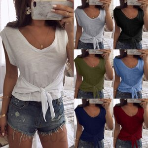 7 colors Hot selling women's spring and summer new V-neck solid color short slim short sleeve T-shirt fashion versatile casual top