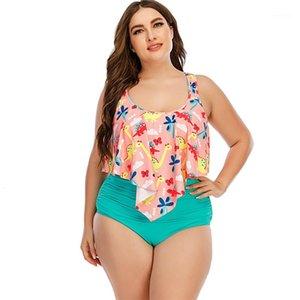 Taille Mesdames Maillot de bain Bikinis Imprimer Chaussures Haute Taille High Womens Maillots de bain Bikini Mode Casual Femmes Vêtements 2021 Été plus