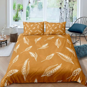 2 3 Piece Microfiber Duvet Cover Set Wheat Ears Golden Bed Linen Set Quilt Cover Single Double Full Queen King Comforter Cover