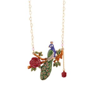 Juicy Grape New fashion Jewelry Gilded Peacock Jewelry Woman Enamel Glaze Flower Heart-shaped Pendant Necklace Collarbone Chain