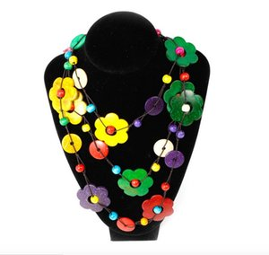1pcs Fashion bohemian flower jewelry multilayer beaded necklaces handmade national necklaces multicoloured necklace for ladies free shipping