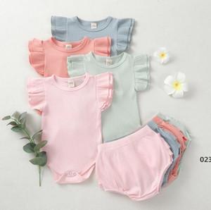 Mädchen Baby Design Kleidung Sets Säuglingsmädchen Kurzarm Tops Shorts Solid Faden Jumpsuits Rüschen Kinder Outfits Kleidung Set EWB5034