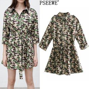Pseewe Spring 2021 Camuflaje Estampado Mini vestido Mujer Cinturón de moda Vestidos cortos Mujeres Pockets casuales Botón