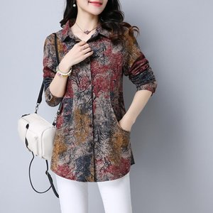 2907 Long Sleeve Shirt Women Tie Dye Long Sleeve Floral Print Cotton Linen Shirt Ladies Slim Casual Vintage Plus Size Cardigan Tunic