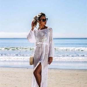 Sexy hollow knitted beach sleeve split holiday long skirt swimsuit jacket sunscreen