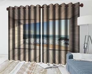 3d Modern Curtain Beautiful Sea View Curtains for Wood-panel Windows HD Digital Print 3d Beautiful Landscape Blackout Curtains