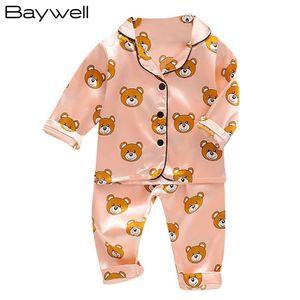 Toddler Silk Satin Pajamas Pyjamas Set Cartoon Kids Boys Girls Sleepwear Pijama Nightwear Suit Girl Home Clothes Boy Loungewear 210915
