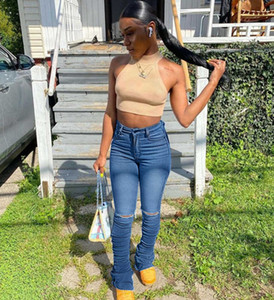 2021 New Style Women Fashion Ripped Slim Fit Stack Women's Casual Long Stacks Jeans Gat Denim Broek
