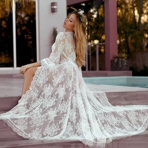 Melphieer Wavy dentelle creuse voir à travers White Beach Robe Mesdames Maillots de bain Couverture Bikini Tunique Tunique Longues Robes de plage Beachwear
