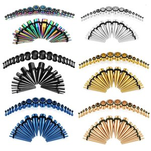 Stainless steel cone single horn set 36pcs multi color ear expander puncture accessoriesNOB4