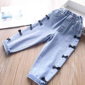 Girls Jeans Kids Jeans Denim Casual Suspenders Bows Harem Pants Spring Autumn Long Pants Children Clothes 2-6Y B4122