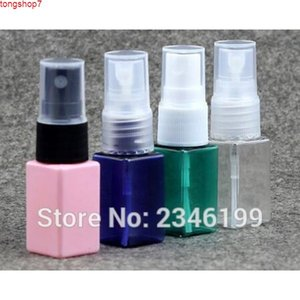 10ML Small Plastic Square Bottle with Spray Cap, Toner Sample Packing Bottle, Pink Blue Green Clear 100pcs lothigh quatity