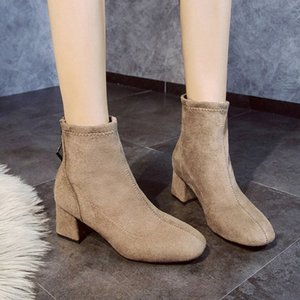 2019 New Stretch Socks Boots Women Shoes Slip Ankle Boots Winter Elegant Zip Square High Heels Shoes Women Wellies Boots For Women 20gY#