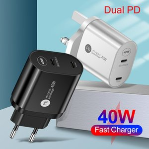 40W Double PD USB C Charger QC 3.0 EU US UK Fast Charger Type C Phone Charger For all phone