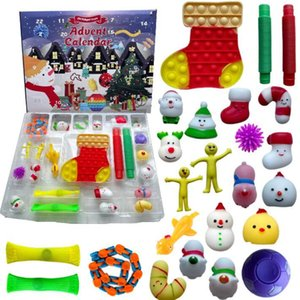 24pcs Set Christmas Fidget Toys Advent Calender Blind Box Gifts Dimple Decompression Toy Soft SqueezeNovelty Party Cartoon Favor