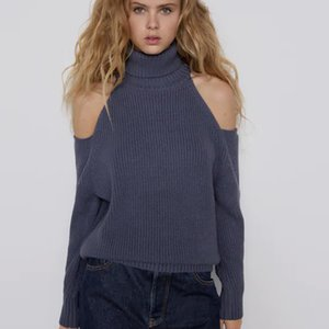 2021 New Autumn Winter Off Shoulder Knitted Sweater Women Solid Turtleneck Plus Size Long Pullovers Knitting Jumper Two Colors 91JC