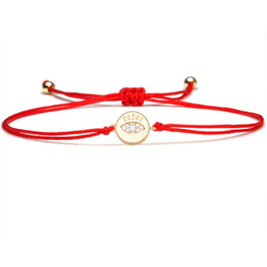White Cubic Zirconia Stones Copper Evil Eye Round Charm Bracelet Women Good Luck Protection Kabala Red String Braided Jewelry