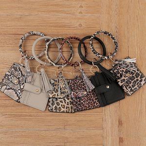 39 style Tassel Card Bag Bangle Bracelet Wallet Keychain Wristlet Keyring Leopard handbag Leather Keychain Credit Card holder LLA393