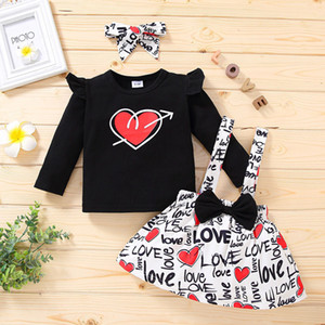 Valentine Outfit Kid Girl Clothing Set Long Sleeve Shirt Suspender Skirt Bow Headband 3 Pcs Baby Love Heart Print Ins Boutique Baby Clothes