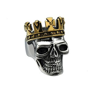 Mcw Punk Titanium Stainless Steel Ring Biker King of Skull Cross Crown Skeleton Gothic Ring for Men's Jewelry