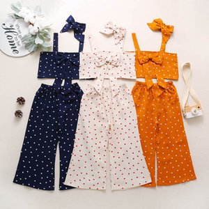 2021 Summer Love Girls Suits Kids Outfits Bowknot Tank Tops+Wide Leg Pants+Headbands 3Pcs Sets Children Clothes B3772