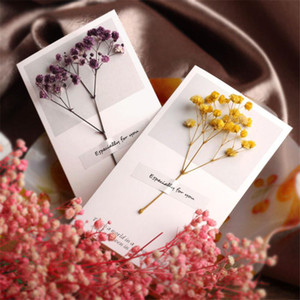 Flowers Greeting Cards Gypsophila dried flowers handwritten blessing greeting card birthday gift card wedding invitations Wholesale