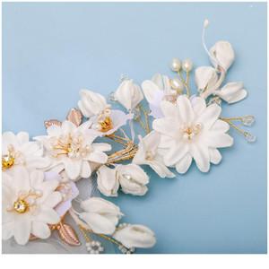 New Wedding Veil Hair Comb Bridal Headdress Hair Accessories White Flower Hair Comb Rhinestone Pearl Tiara Handmade qylVmB