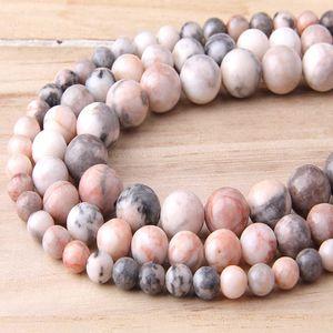 Natural Pink Zebra Stone Beads 4-12 mm Polished Travertino Alhambra Round Strand Beads For DIY Jewelry Making Bracelets&Necklace