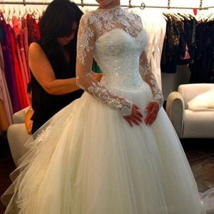 Sexy Sheer Neck Lace Long Sleeves Ball Gown Wedding Dresses Tulle Applique Beaded Court Train Bridal Gowns