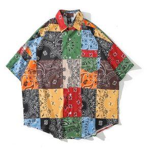 2021 NUEVO Kiryaquy Men Paisley Costa oeste Crips Bloods Moda de algodón Casual Camisetas Camisa de alta calidad Mangas cortas de bolsillo # 03 032A