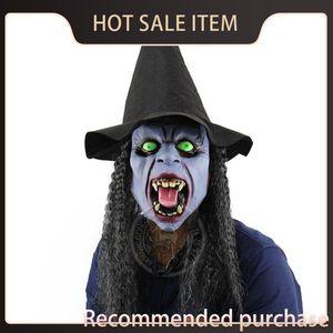 Pratik Perili Yeşil Balo Ev Sahne Bar Cadılar Bayramı Uzun Saç Fangs Öfkeli Cadı Maskesi Cadılar Bayramı Gözler Headmask Joke Kbhbq
