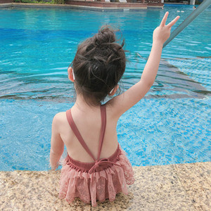 New children lace princess swimsuit girl Backless suspenders spa one-piece swimwear cute kids Summer Beach Bathing Suit B017