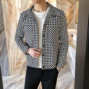 Bomber Jacket Men 2021 Primavera Nueva Chaqueta para hombre de algodón Patchwork Chidori Plaid Mascule Chaquetas Hombre 0223-1