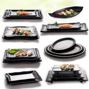 Блюда тарелки Vacclo черный меламин матовый имитационный фарфоровая тарелка посуда ресторан суши рыб лоток посуда