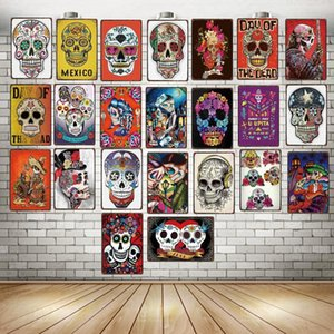 Sugar Skull Metal Sign Shabby Chic Mexican Festival Day Of The Dead For Wall Poster Bar Tattoo Shop Art Home Decor DU-3239A Q0308