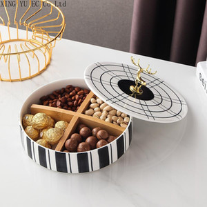Living Room Household Fruit Bowl High-end Dried Fruit Candy Tray with Lid Desktop Ceramic Light Luxury Home Furnishings