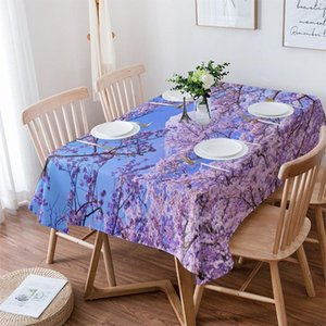 Table Cloth Mount Fuji Cherry Tree Pink Flowers Wedding Waterproof Oilproof Dining Cover Kitchen Home Decor Tablecloth